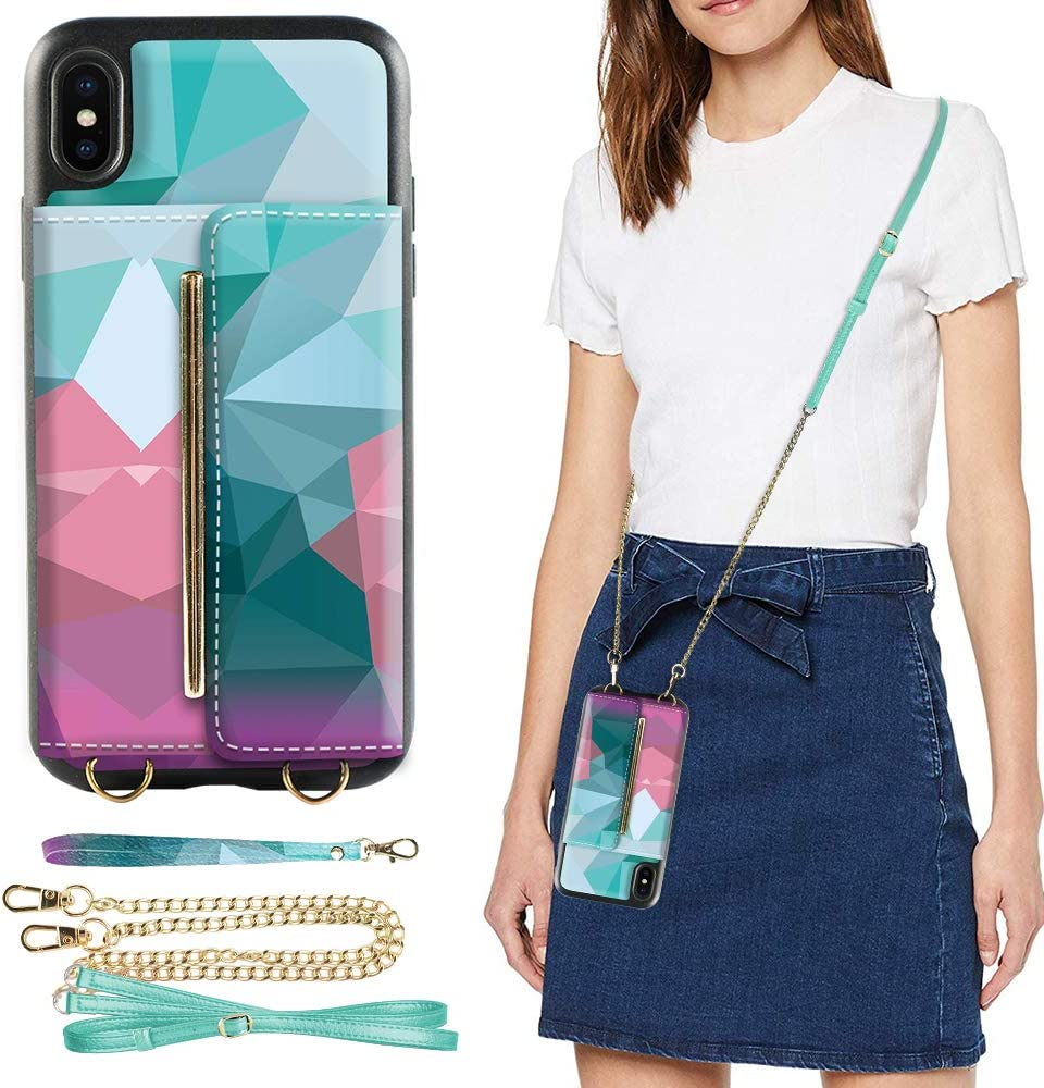iPhone Xs MAX Wallet Case, iPhone Xs MAX Crossbody Case, ZVEdeng iPhone Xs MAX Card Holder Case with Crossbody Strap Kickstand Phone Case Leather Crossbody Purse for iPhone Xs MAX 6.5INCH-Mixcolor