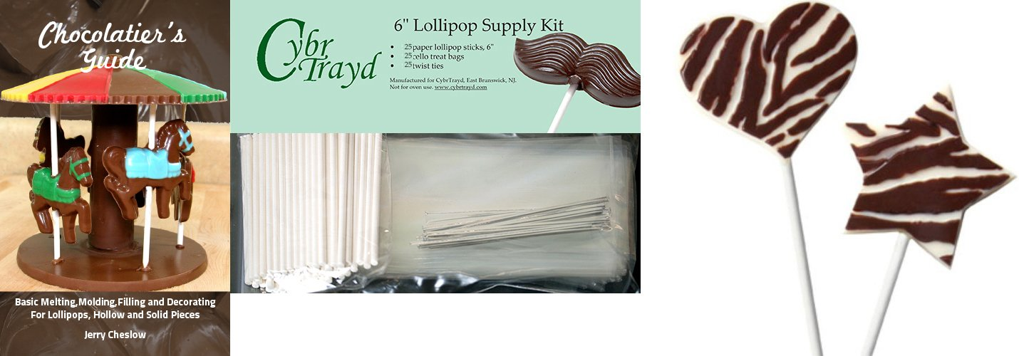 Cybrtrayd Zebra Heart and Star Pop Chocolate Mold with Chocolatiers Bundle of 25 Lollipop Sticks 25 Cello Bags 25 Silver Twist Ties and Chocolatiers Guide