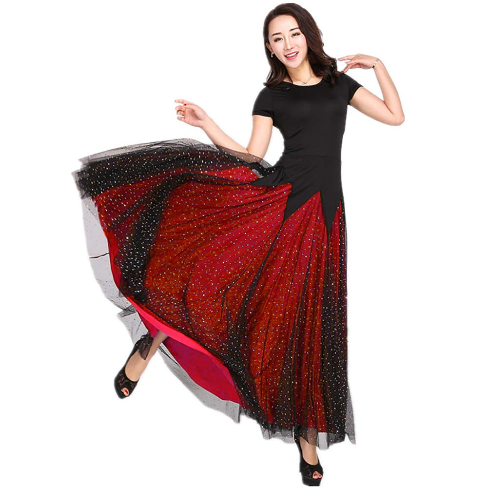 DHTW&R Damen Erwachsene Tanzen Rock Kleider Spitze Rundhals Kurze Ärmel Flexibel Bühne Kostüme Elegant Party Wettbewerb Kleid B07M8XSNNY Bekleidung Haltbarkeit