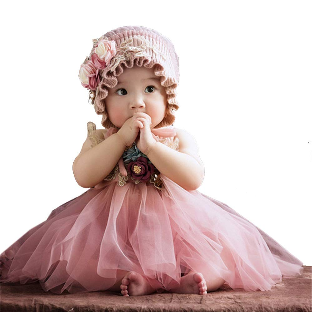 KMCMYBANG Baby Photography Clothing Baby Girls' Newborn Onesie Costume Outfits Tutu Dress Photography Props Hat Pink Baby Photography Props (Color : Pink, Size : S) by KMCMYBANG