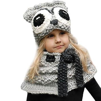 bebé super servicio Tener cuidado de Bebé Bufandas Sombreros Sombreros para niños Otoño invierno Calentar Linda  Animal De punto capucha Bufanda Gorros 2 piezas LMMVP (Gris, Tamaño libre)