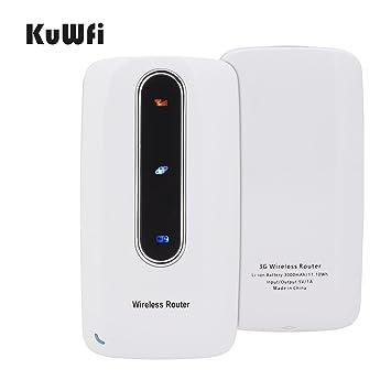 KuWFi Smart Mobile Portable 3000mAh Power Bank 3G Router inalámbrico WiFi Repetidor SIM Card con RJ45 para el iPhone Samsung Tablet Soporte WCDMA Red: ...