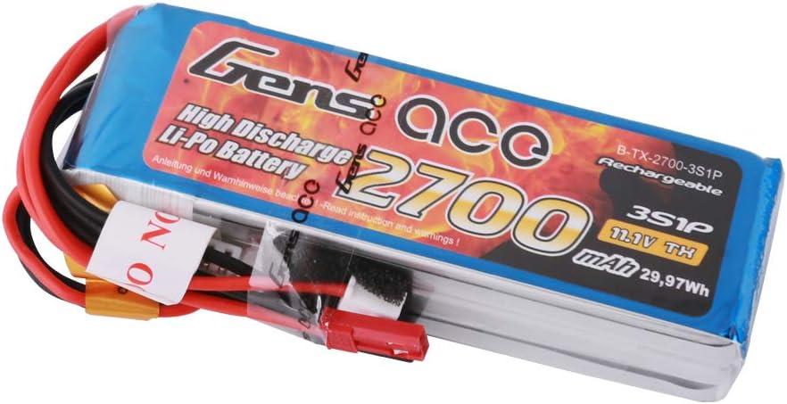 Gens ace 2700mAh 11.1V 25C 3S1P LIPO Pack batería para modelo RC coche Heli avión barco camión FPV coche helicóptero aviones juguetes