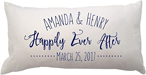 Pattern Pop Happily Ever After with Names and Est Date Lumbar Throw Pillow