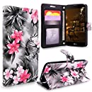 LG Stylus 2 Case, LG G Stylo 2 Case, Cellularvilla [Slim Fit] [Card Slot] Premium Pu Leather Wallet Case [Wristlet] Flip Protective Stand Cover For LG G Stylo 2 / LG Stylus 2 LS775 (Black Pink Flower)