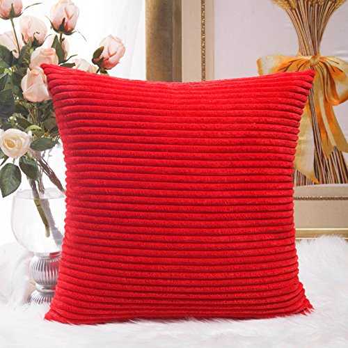 Home Brilliant Decoration Christmas Solid Red Soft Striped Velvet Corduroy Plush Throw Cushion Cover for Square Pillow (Red, 18 x 18 inch, 45cm)