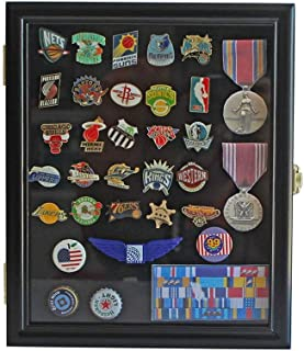 product image for flag connections Display Case Cabinet Shadow Box for Military Medals, Pins, Patches, Insignia, Ribbons Black Finish.