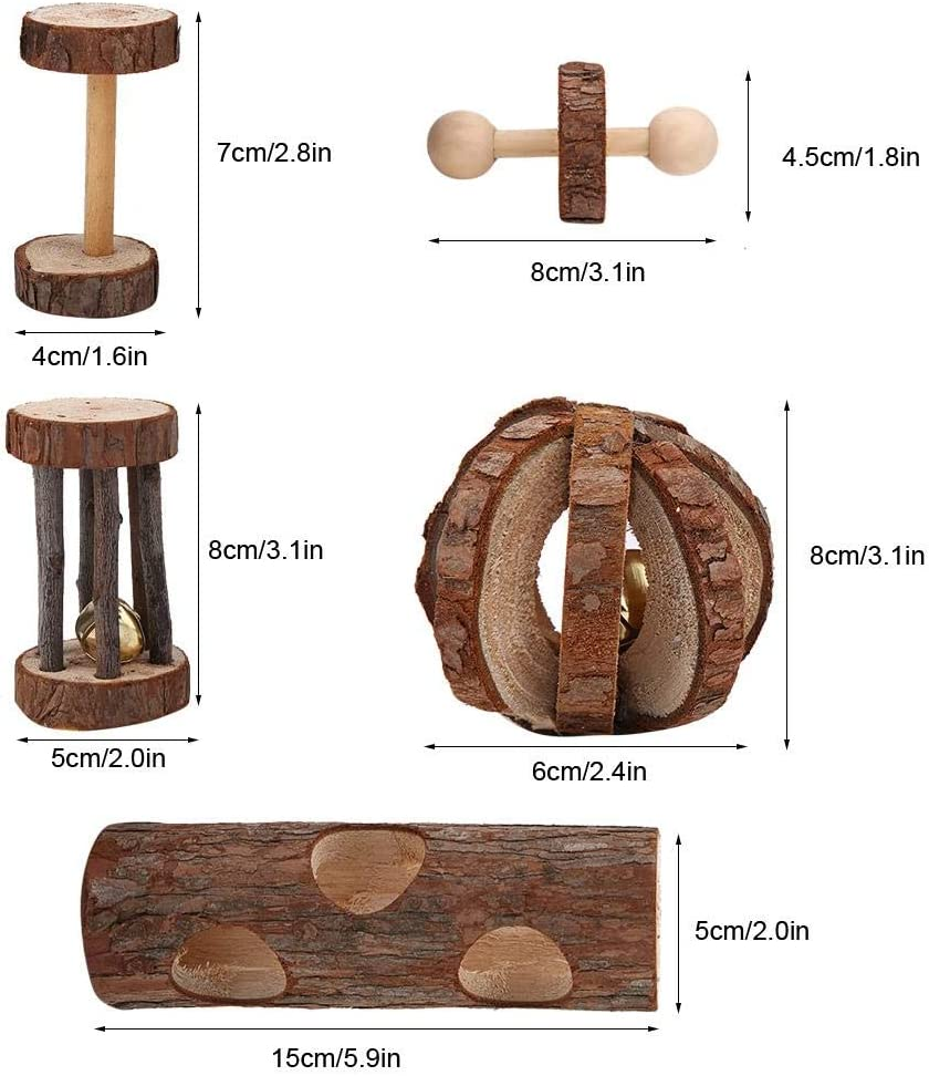 Sheens 5Pcs Natural Wood Varied Molar Teeth Care Fun Toy Set Fully Engaging Activity Toys Chinchilla Tunnel Toy Chinchilla Dumbbells Unicycle Bell Roller