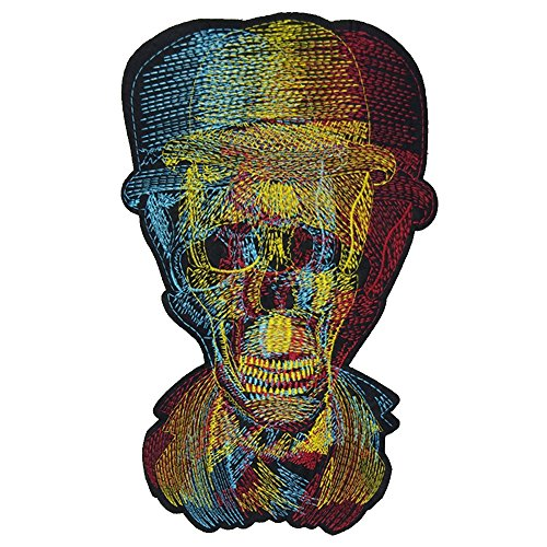 28x18 cm/11x7 inches Appliques Patches Iron On Patterns Print Embroidery Sewing Craft Supplies Machines Designs Logo Cloth Hat Bag DIY Decor (Color Skull) by SXM