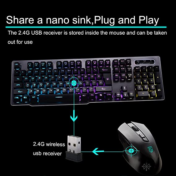 6131b6103e4 Amazon.com: Rechargeable Keyboard and Mouse,Suspended Keycap Mechanical  Feel Backlit Gaming Keyboard Mouse-Fast Charging,Wireless 2.4G Drive  Free,Adjustable ...