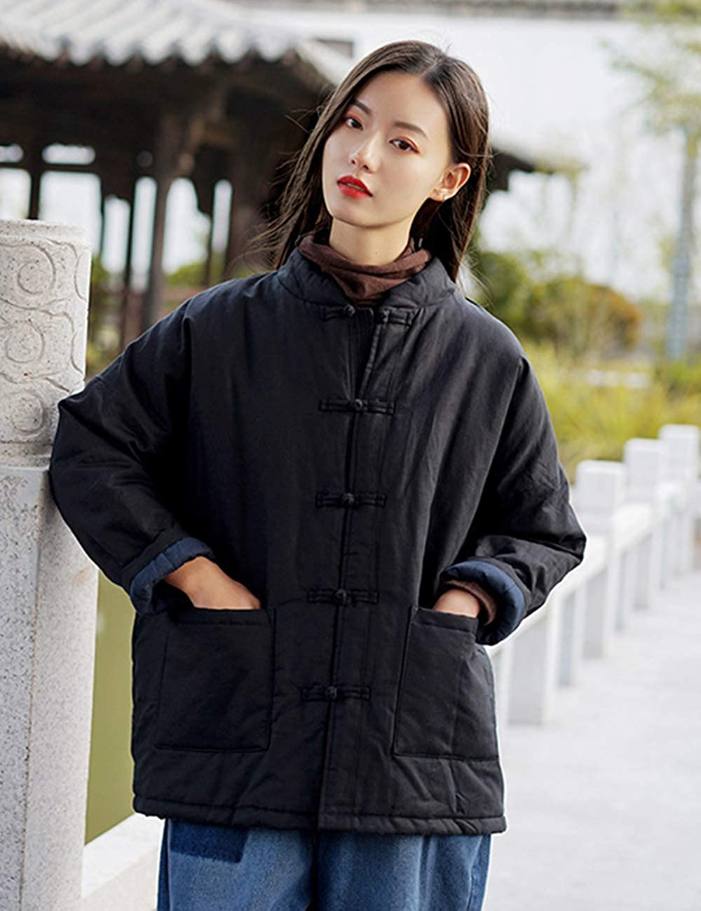 LZJN Womens Quilted Jacket Coat Chinese Tang Suit Style Cotton Linen Coat with Pockets