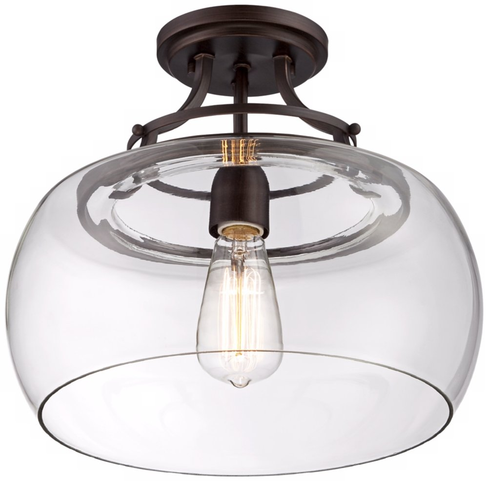 Charleston bronze 13 12 wide clear glass ceiling light amazon aloadofball Gallery