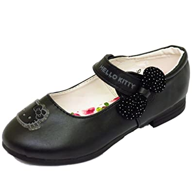 9e5bb356f Kids Girls Black Hello Kitty Velcro School Pump Dolly Smart Flat Shoes  Sizes 10-3