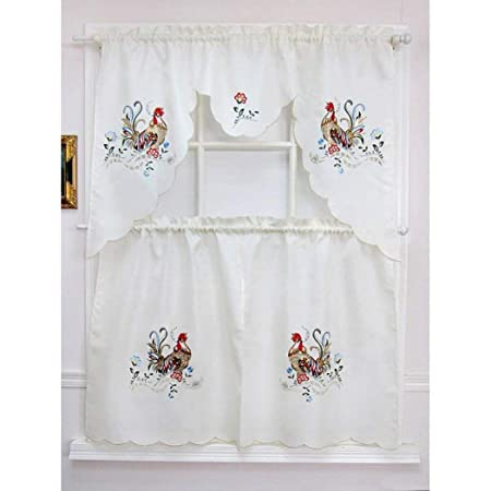 Peachy 3Pc Red Rooster Kitchen Tiers Valance Set 58X36 White Download Free Architecture Designs Jebrpmadebymaigaardcom