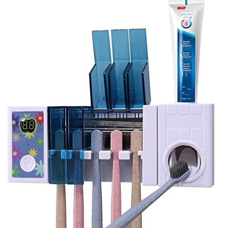 2 in 1 UV Wall Mounted Toothbrush Sterilizer Auto Toothpaste Dispenser Holder