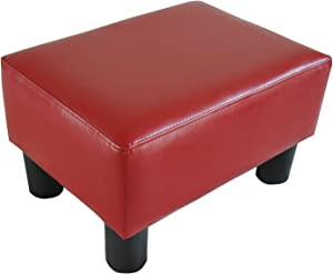 HOMCOM Modern Small Faux Leather Ottoman/Footrest Stool - Red