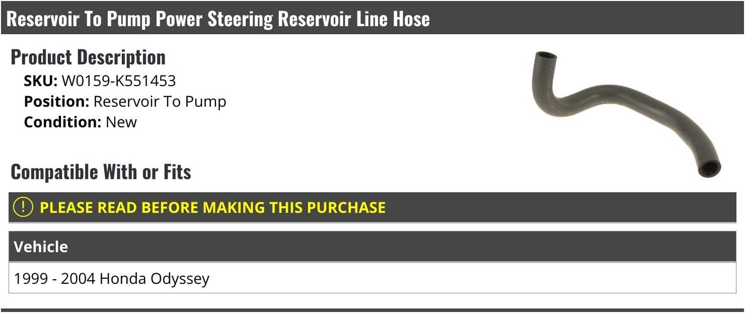 Reservoir To Pump Power Steering Reservoir Line Hose Compatible with 1999-2004 Honda Odyssey