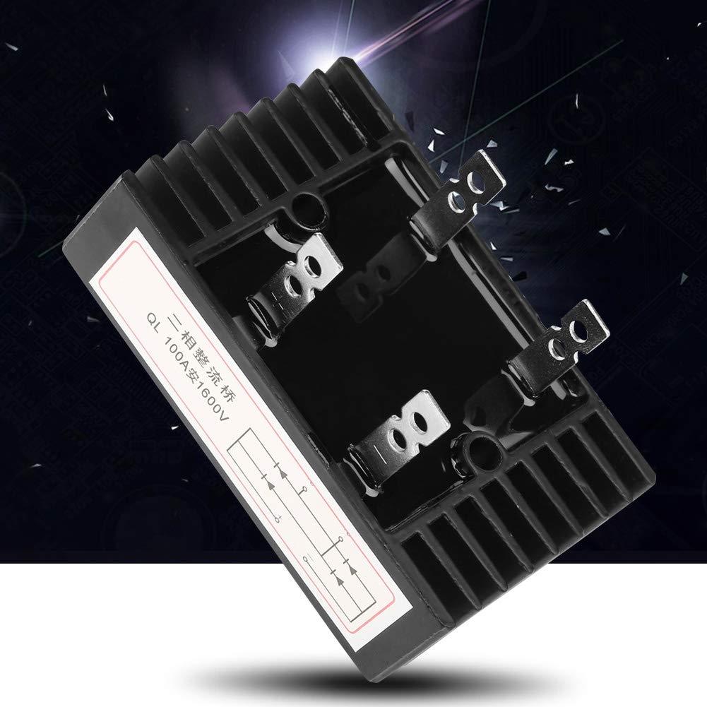 Puente Rectificador 100A Amp 1600V Voltaje 2-Phase 4 Pines Diode Puente Rectificador Generador de Alta Potencia Piezas Accesorios Metal Negro