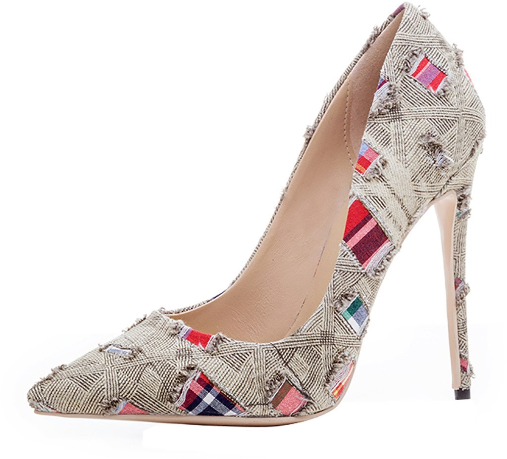 Arraysa Mujer Aaaal Estilete 12CM Canvas Ponerse Zapatos de tacón 37 EU|Marrón
