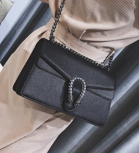 Chaîne 16 amp;QIUMEI Sac Oblique Croix OME Épaule 10cm Sac Petit Noir Unique 27 Sac Femme Carré YE6xdxqwp