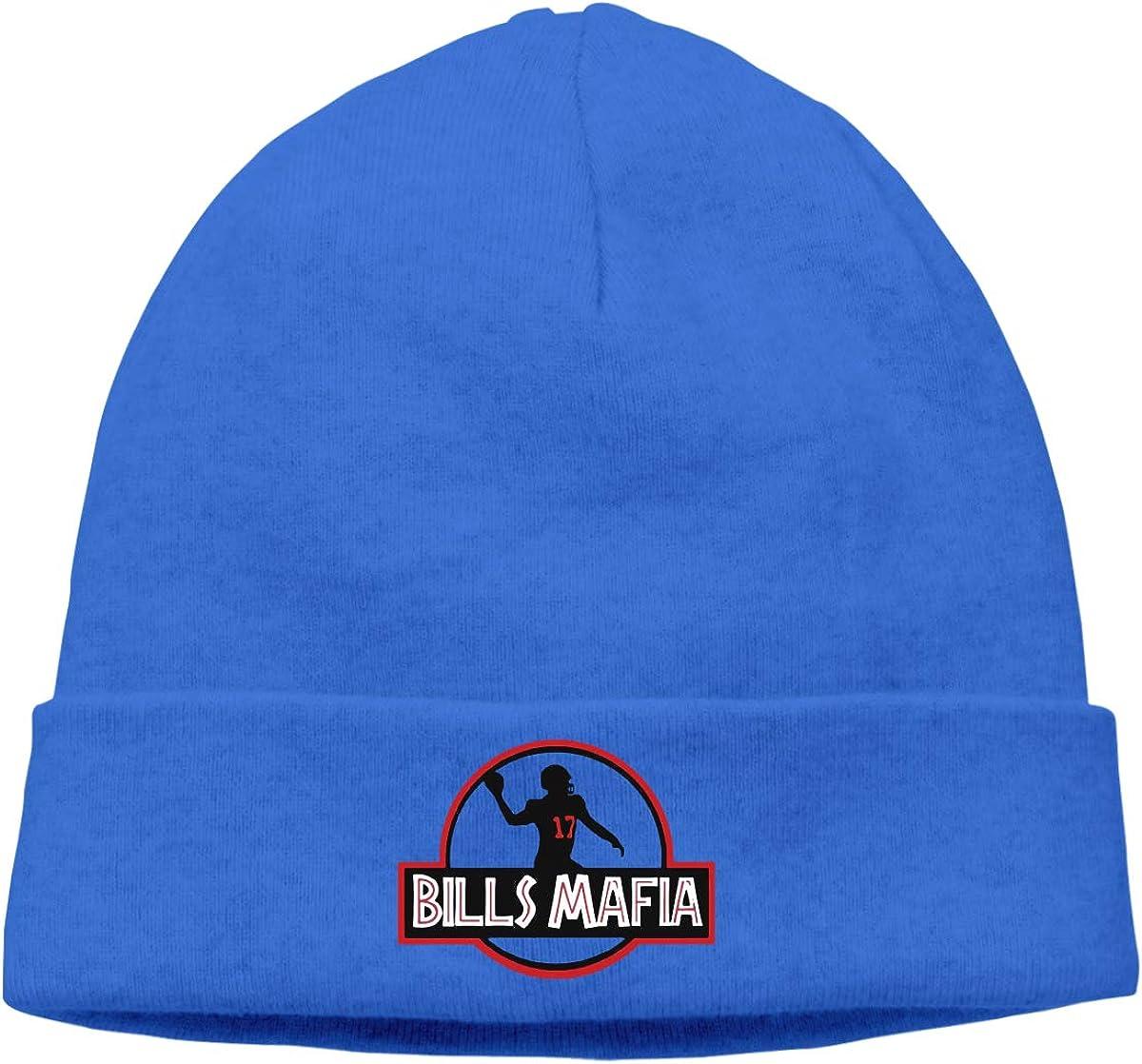 Moore Me Mens Winter Warm Beanie Hats Blue Bills Mafia Logo Slouchy Beanie for Women