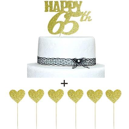 Amazon Happy 65th Gold Glitter Cake Topper And Love Star