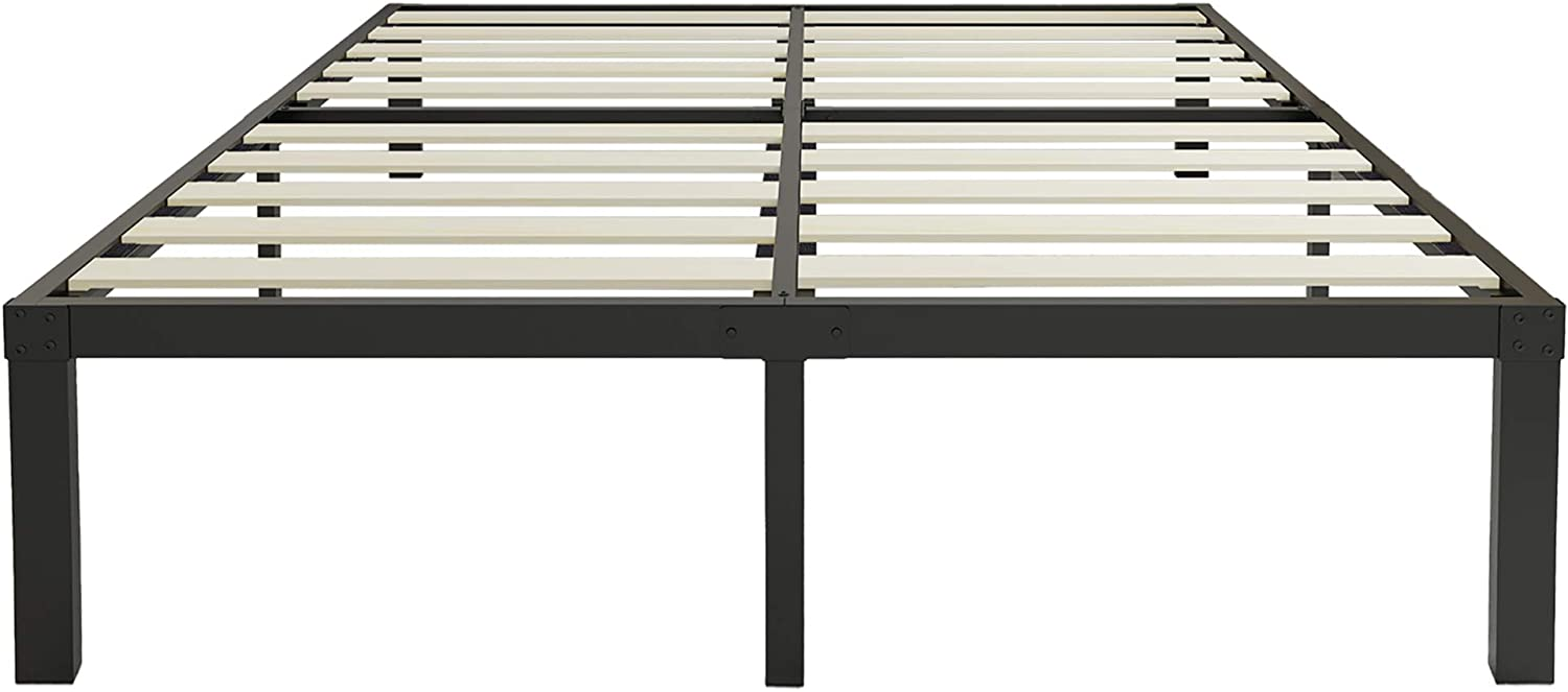 45MinST 18 Inch Heavy Duty Metal Platform Bed Frame/Wood Slat Support/Mattress Foundation/Noise Free/No Box Spring Needed,Queen