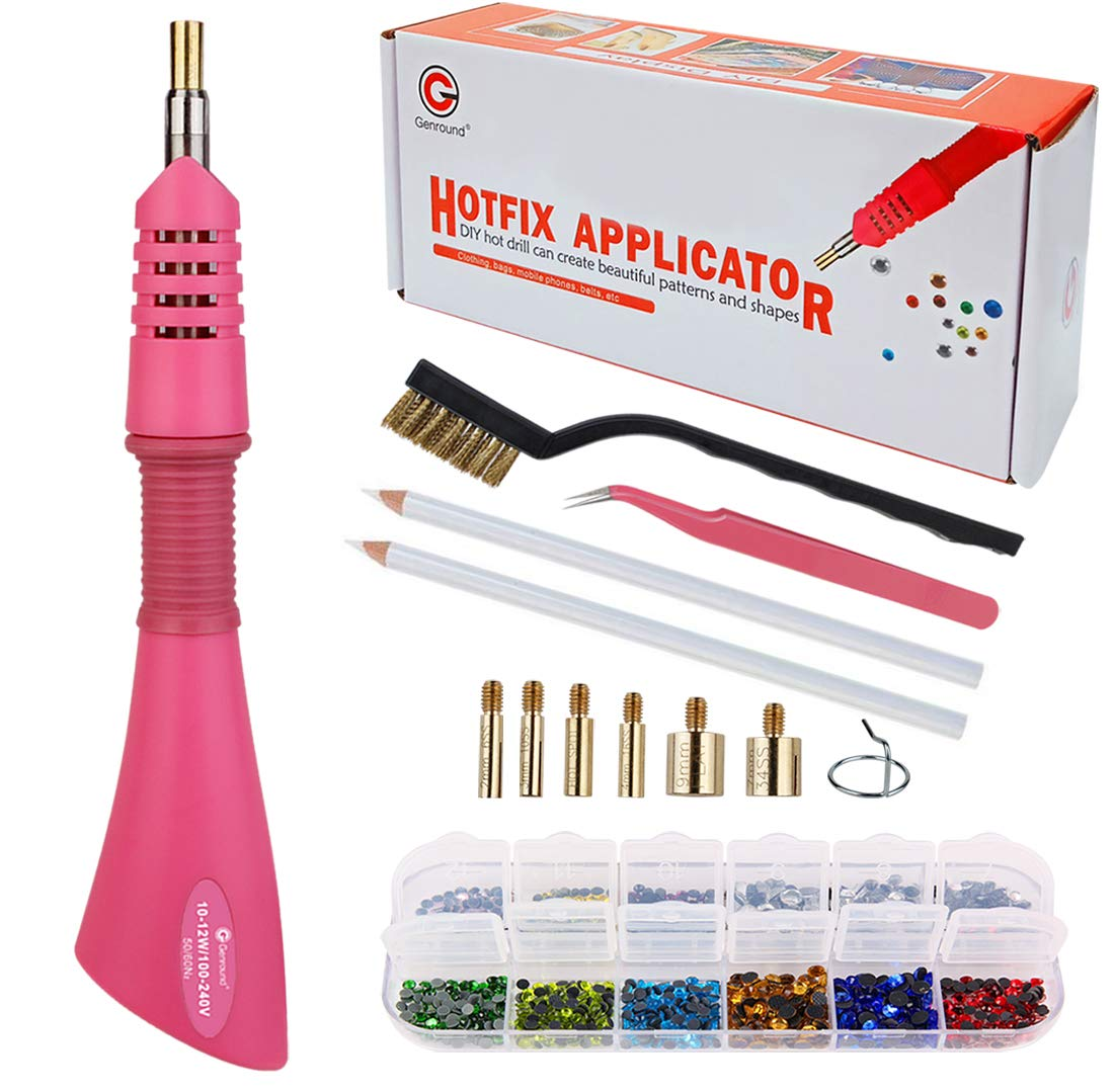 Hotfix Applicator, Genround DIY Rhinestone Hotfix Tool Kit Rhinestone Setter Hotfix Applicator Tool with Crystal and Mixed Color Hotfix Rhinestone, Rhinestone Pickers, Hot Fix Tips, Tweezer and Brush by Genround
