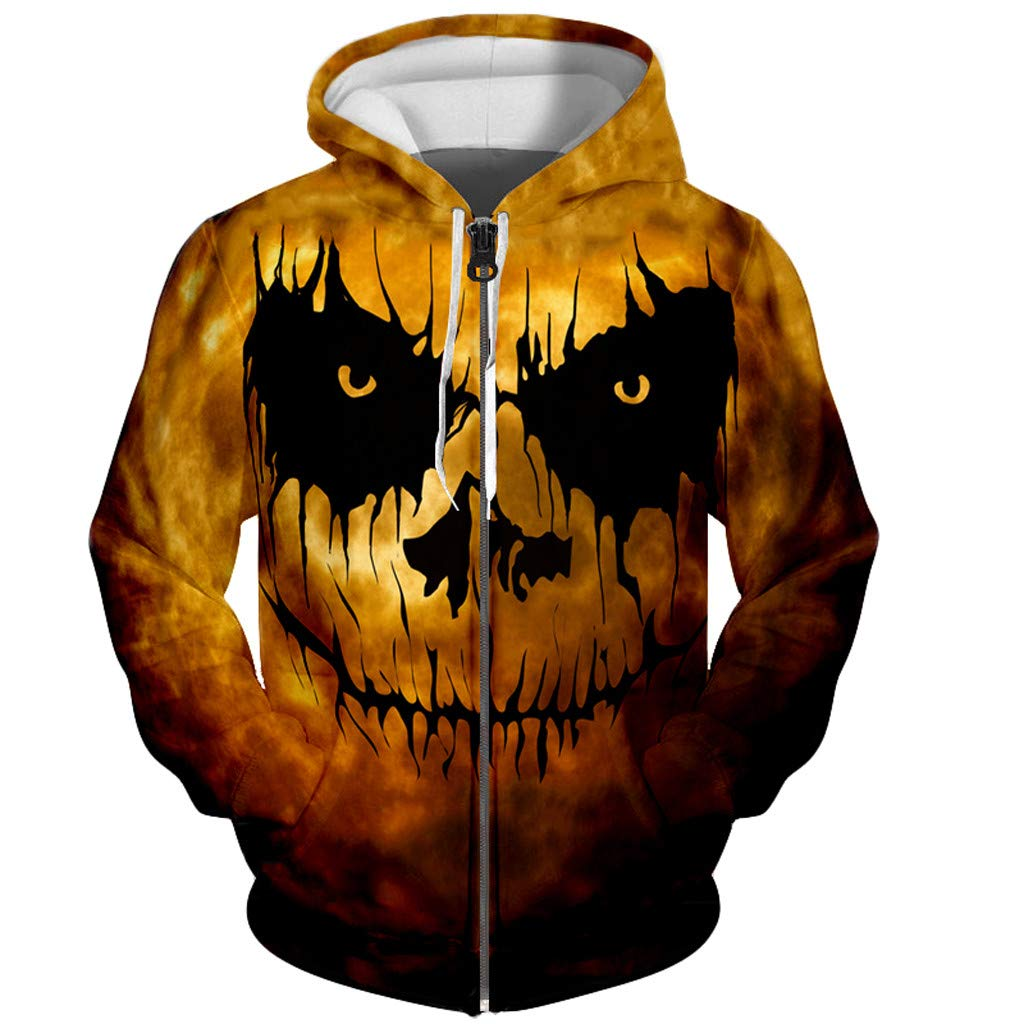 Jialili Mens Womens Hoodie Casual Scary Halloween Lover 3D Printed Long Sleeve Hooded Pullover Coat Top Blouse(XXXXX-Large,Yellow) by Jialili