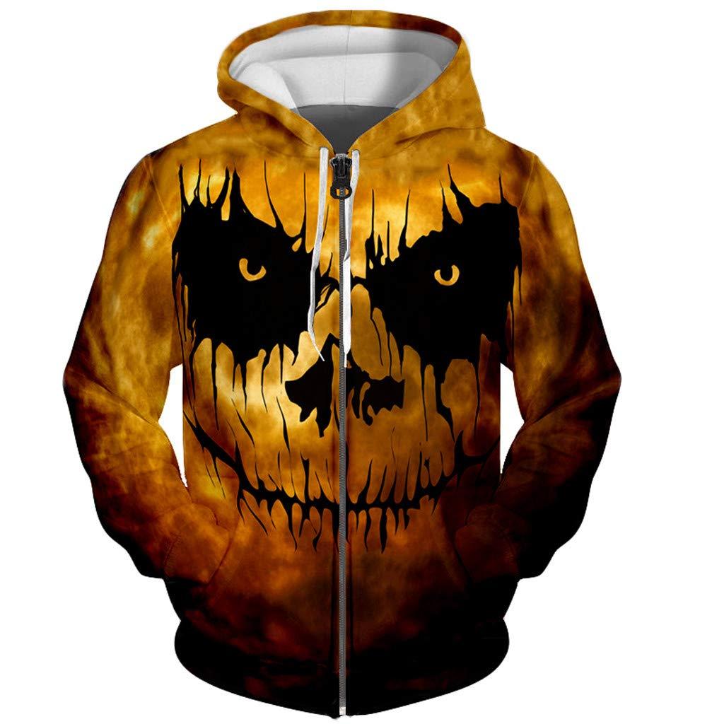 Dermanony Womens Loose Halloween Jacket/Sweatshirt Horror 3D Print Long Sleeve Hooded Sweatshirt Blouse with Pockets by Dermanony _Blouses