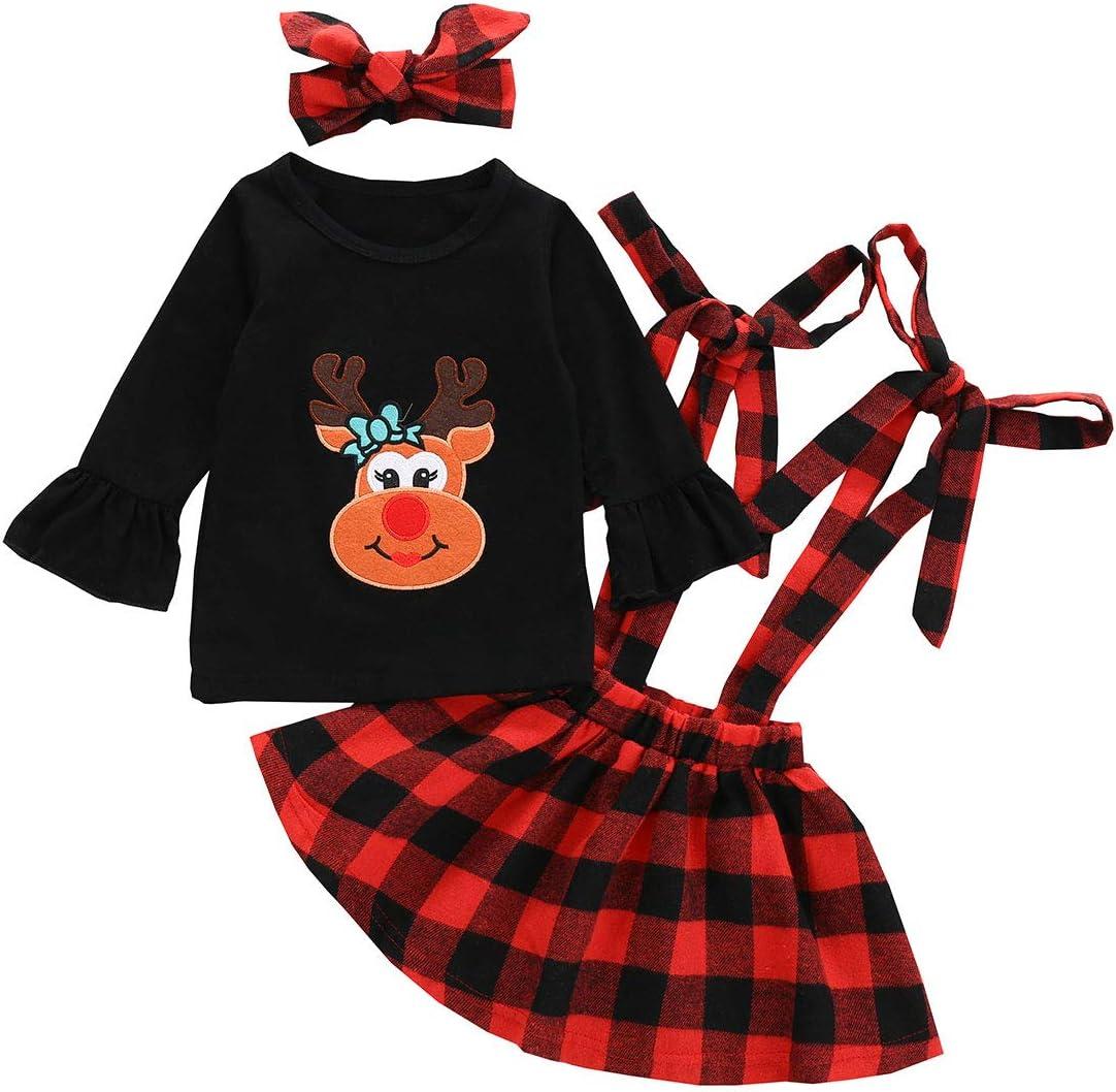 تي شيرت Sinhoon Baby Girl Christmas ملابس الأطفال بكشكشة طباعة قميص + تنورة + عصابة رأس
