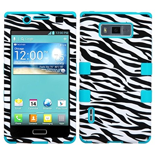 Price comparison product image MYBAT Hybrid Phone Protector Cover for LG Splendor/US730/Venice/Optimus Showtime/L86C - Carrying Case - Retail Packaging - Zebra/Tropical Teal