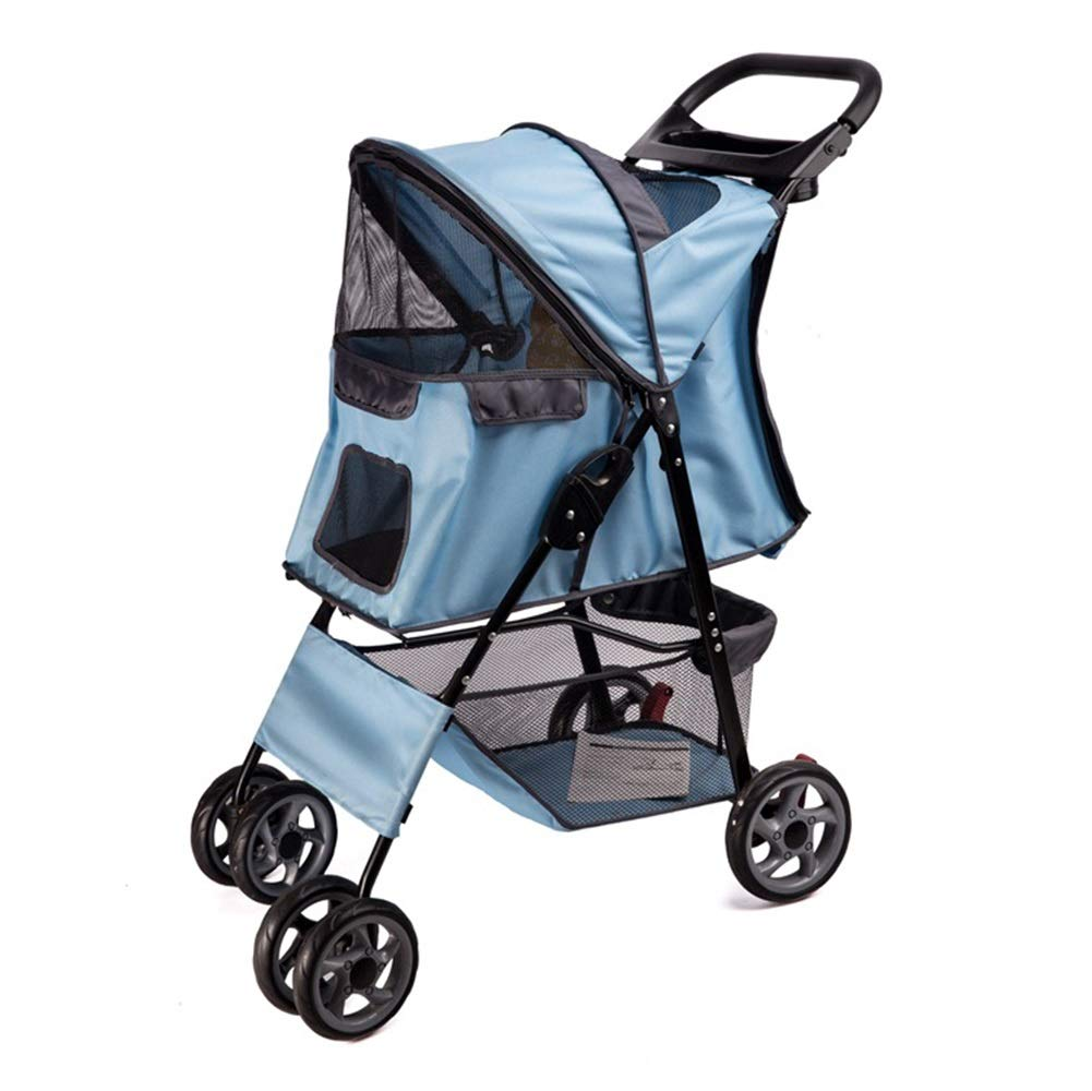 bluee Dog Strollers, Pet Cart Foldable 4 Rounds Damping Reversing Cat And Dog Baby Carriage For Teddy Small And Medium Disabled Dogs Trolley (color   bluee)