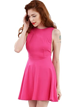 0851a21c548 Wink Gal women s Sexy Backless Round Neck Sleeveless Casual Dress Colour  Fushia Size S