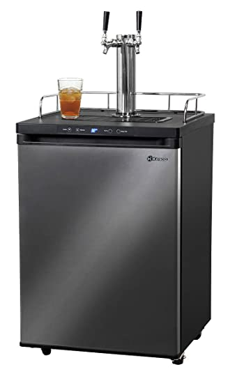 Kegco KOM30X-2 Digital Kombucha Keg Cooler - 2 Tap - Black Stainless Steel Door