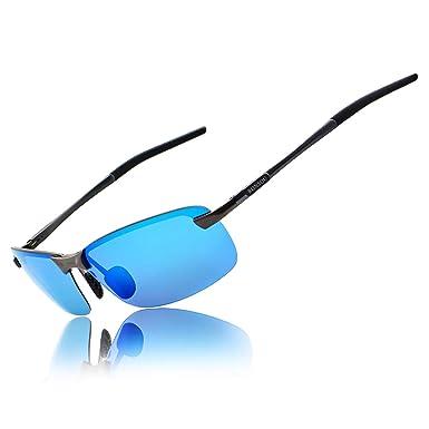 f8cb417580 Ronsou Men UV400 Rimless Aluminium-Magnesium Polarized Sunglasses Mirrored  For Driving Fishing Golf Outdoor gray frame blue lens  Amazon.co.uk   Clothing