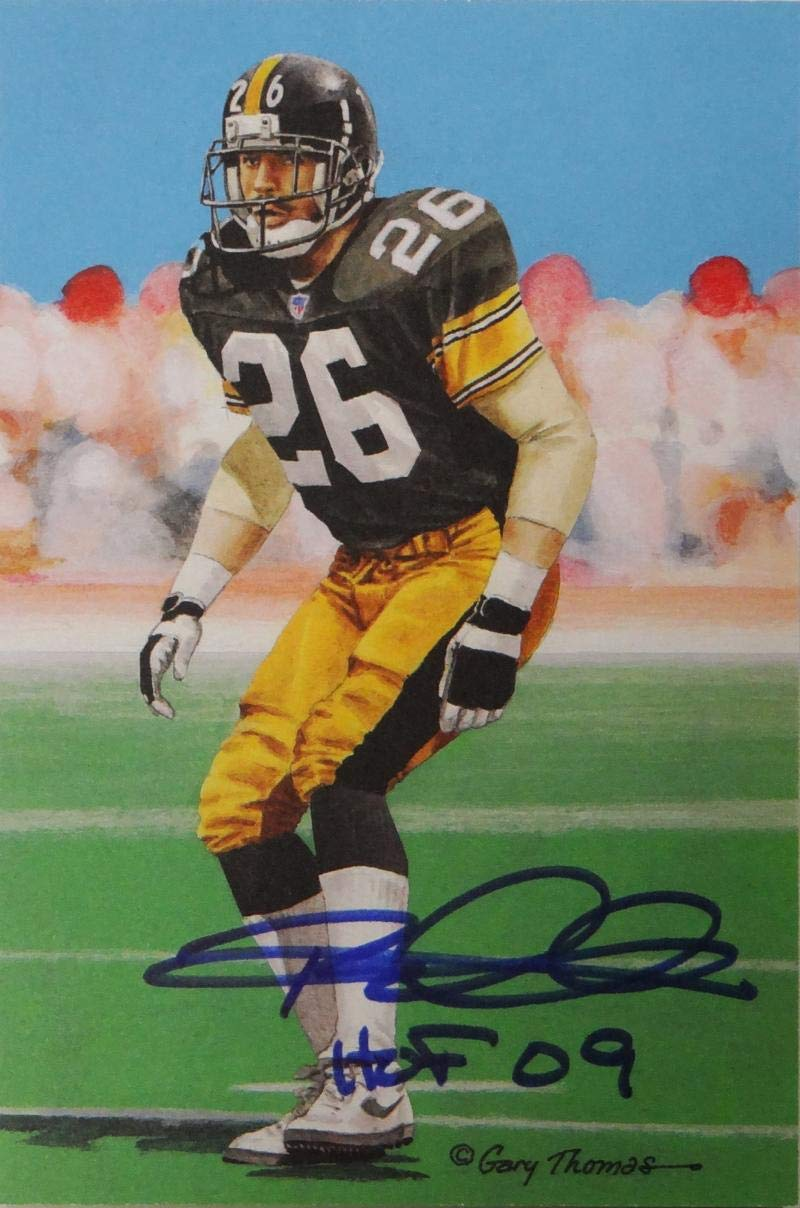 Cheap Rod Woodson Autographed Pittsburgh Steelers Goal Line Art Card WHOF  supplier