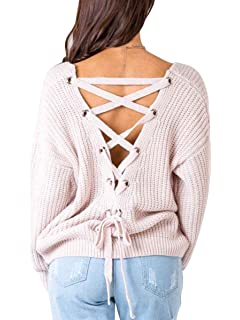 87cda5c69c MiYang Women Sweater Pullover V Neck Lace Up Knitted Tops Criss Cross  Backless Jumper