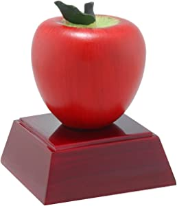 Decade Awards Apple Color Resin Trophy - Teacher Appreciation Award - 4 Inch Tall - Customize Now