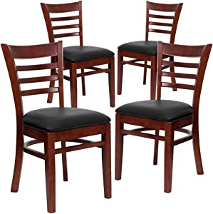 Flash Furniture 4 Pack HERCULES Series Ladder Back Mahogany Wood Restaurant Chair - Black Vinyl Seat