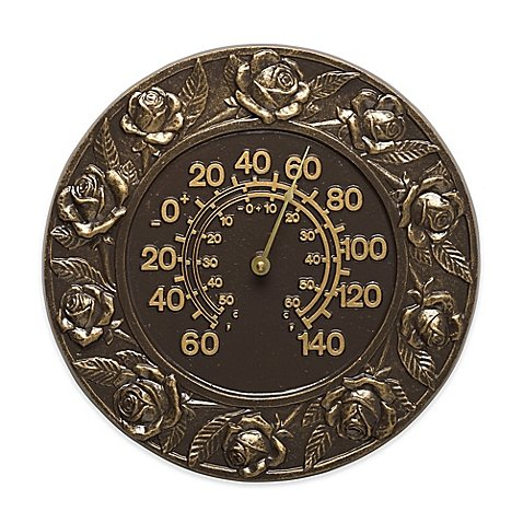 (Whitehall Products Rose Indoor/Outdoor Wall Thermometer in French Bronze)