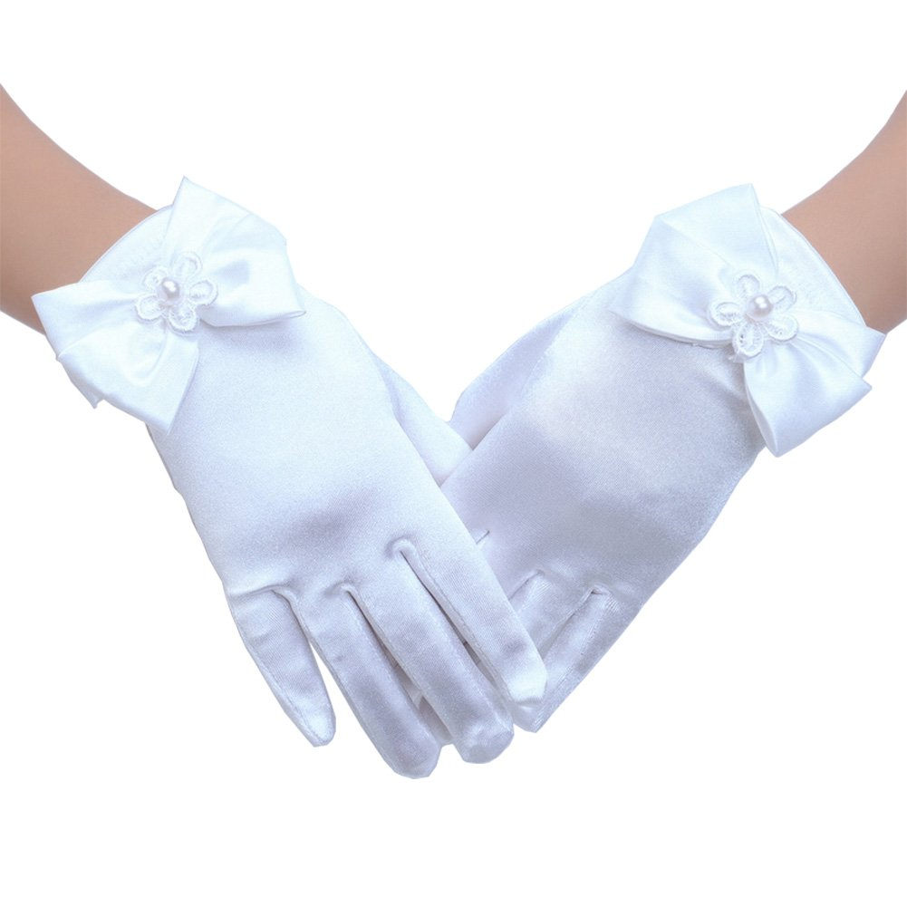 Tandi Girl First Communion Satin Fancy Gloves for Special Occasion Dress Formal Wedding Pageant Party Short (Large, White)