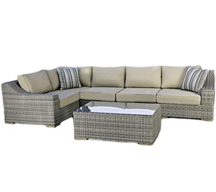Madbury Road 6 Piece Corsica Deep Seating Sectional Sofa Set, Driftwood Gray