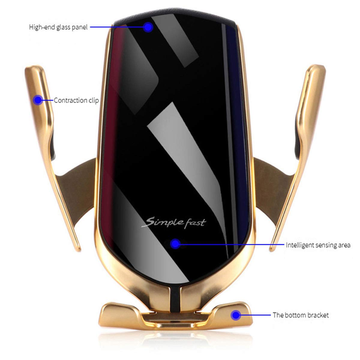 IR Intelligent Sensing Wireless Car Charger,10W Qi Fast Charging Auto-Clamping Car Mount Air Vent Phone Holder Compatible with iPhone11//11Pro//11ProMax//XSMax//XS//XR//X//8//8+ Gold