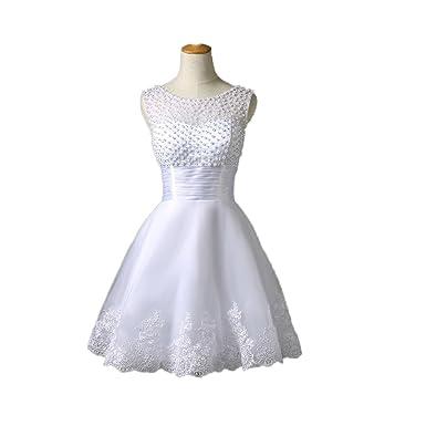 Aoturui Damen Weiß Kurz Perlen Wulstig Hochzeitskleid Brautkleider ...