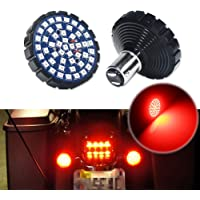Miniclue 2 Inch 1157 Red Turn Signal LED Running Light Kit Front or Rear Compatible with Motorcycles Harley Davidson