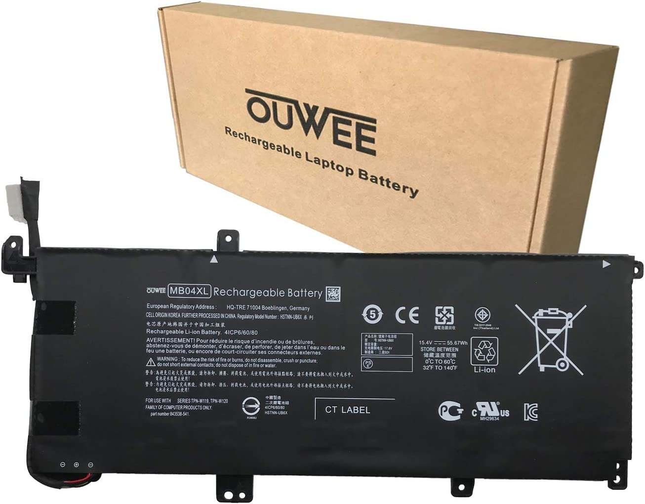 OUWEE MB04XL Laptop Battery Compatible with HP Envy X360 M6-AQ003DX-AQ005DX-AQ103DX-AQ105DX-AR004DX Convertible 15 inch 15-AQ005NA AQ101NG Series HSTNN-UB6X 843538-541 844204-850 TPN-W119-W120