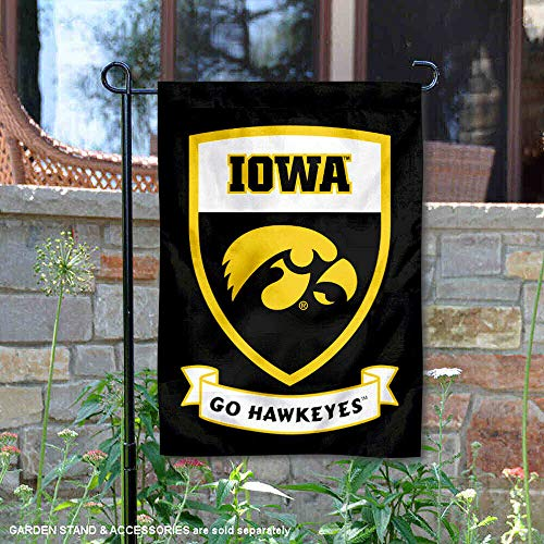 Iowa Hawkeyes Crest Shield Garden Flag and Banner - Iowa Hawkeyes Team Wall Border