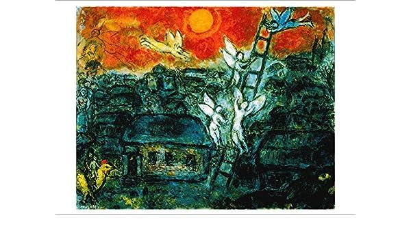 3 Tarjeta de paquete: de Marc Chagall Jakob la Escalera