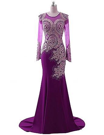 d833ce7e3c1 King s Love Women s Rhinestone Long Sleeve Mermaid Evening Dress Purple 1  US24W